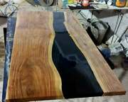 Luxury Epoxy Resin Dining And Coffee Table Live Edge Custom Made Outdoor Table