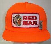 Vintage Red Man Chewing Tobacco Orange Trucker Hat Snapback Cap Large Patch Usa