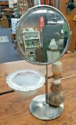 Vintage Shaving Stand With Porcelain Bowl Wooden Brush And Swivel Mirror