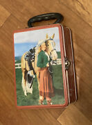 Used 2001 Accoutrements Western Cowgirl Horse Collectible Tin Lunch Box Storage