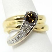 18 Kt Multi Gold Nice And Solid Diamond Modified Crossover Ring Size 7 A5847