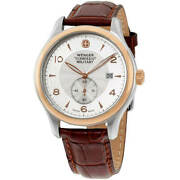 Wenger Menand039s Watch Swiss Quartz Silver Dial Brown Leather Strap Ss Case 79313c