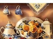 Diamond Painting Teapot Set And Flowers Design Embroidery Portrait House Display
