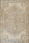 Antique Muted Geometric Heriz Hand-knotted Area Rug Wool Oriental Carpet 10and039x13and039