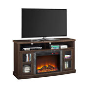 Electric Fireplace Tv Stand 60 In Shelves With Glass Doors Entertainment Wood