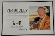 Vin Scully Hand Signed Last Day Att Park Sga Give Away Poster 10/2 Thank You Jsa