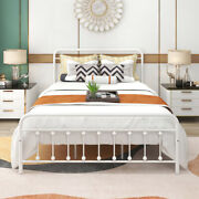 1 Pcs Queen Size Vintage Metal Bed Frame Platform With Headboard And Footboard