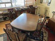1800s Antique Vintage Trestle Dining Room Table Carved Curved Ornate 4 Chairs