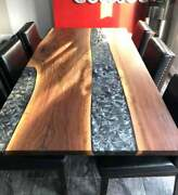 Gray Resin River Dining Table Natural Epoxy Table Resin Table Wood Working Art