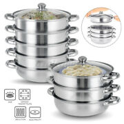 2/3/4/5-tier 28cm Stainless Steel Boiler And Steamer Pot Set Cookware Usa