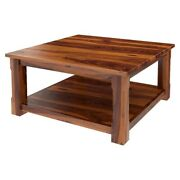 Classic Evergreen Sheesham Solid Wood Large Square Coffee Table Honey Brown
