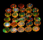 Natural Ethiopian Opal Faceted 7x9 Mm Oval Cut Aaa Welo Fire Opal Loose Gemstone