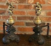 Vintage Original 19th Antique Fire Dogs With Figurines Solid Brass In Iron Case