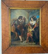 Antique Original 19th Painting Oil On Canvas Of Medieval Scene Of Figures Child