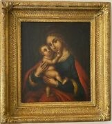 Antique 19th Painting Oil On Canvas Madonna And Child Wooden Gilt Stucco Frame