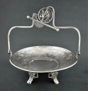 Pairpoint - Quad Silver Cake Basket - Aesthetic Decor Birds Flowers Insects