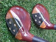 Persimmon Titleist Acushnet Golf Clubs Refinish Woods Set Driver And 4 W New Grips