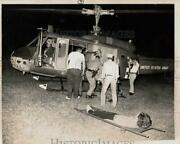 1973 Press Photo Mast Personnel Putting Accident Victims On Helicopter Tx
