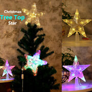 Led Tree Topper Star Christmas Decorations Top Xmas Star Light Up Glitter Gift