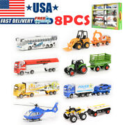 8 Pcs Truck Car Bus Police Helicopter Farm Vehicle Diecast Toy Playset Kids Gift