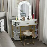 Modern Makeup Vanity Table Dressing Desk With Lighted Mirrors And Storage Shelves