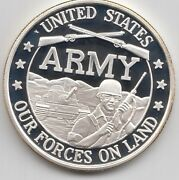 U.s. Army Our Forces On Land One Ounce Silver Round Infantry Crossed Rifles