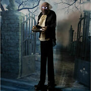 5 Ft. Animatronic Spooky Sounds Moaning Animated Butler Halloween Prop Life-size