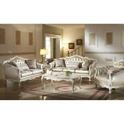 Acme Chantelle Loveseat W/3 Pillows Rose Gold Pu/fabric And Gold Vintage