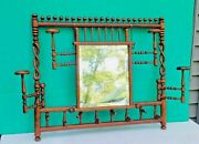 Antique Victorian 1890s Stick And Ball Wall Mount Hat And Coat Rack W Mirror