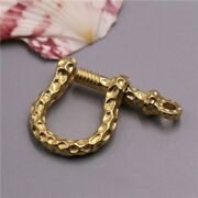 Solid Brass D Bow Shackle Screw Pin Joint Connect Fob Key Chain Hook Hang Buckle