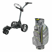 Motocaddy M7 Dhc 4 Wheel Golf Caddy Cart With Carrying Golf Club Cart Bag, Lime