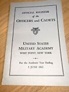1963 Official Register Of The Officers And Cadets West Point