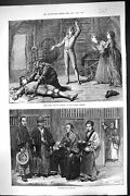 Old Print 1874 Scene Two Orphans Olympic Theatre Japanese Escort Officers 19th