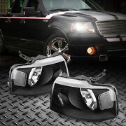 Headlights Assembly For 2004-2008 Ford F-150 F150 Black Housing Clear Lamps Pair