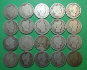 20 Different Date/mint Silver Barber Quarters Heavily Worn Readable Dates