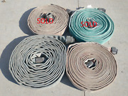 1.5 Diameter 3.5 Flat Canvas Vintage Fire Supply Hose 50and039 Red White Blue