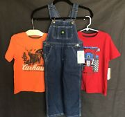 And John Deere Lot Jean Logo Bib Overalls And 2 Tops Size 2t New