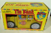 Great Dealarthur Tin School Bus Bank 98 Vintage With Box Collectable Banks