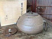 Y3075 Chagama Iron Pot Replacement Lids Signed Box Japanese Tea Ceremony Teapot