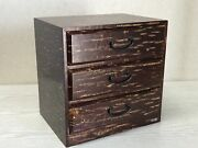 Y3086 Tansu 3-tier Chest Of Drawers Cherry Woodwork Japanese Antique Vintage