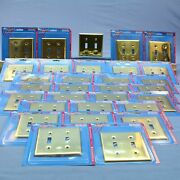 30 Leviton Polished Brass 2gang Toggle Switch Cover Wallplate Switchplates 89709