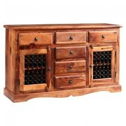 Classic Evergreen Sheesham Solid Wood Natural 2 Doors 6 Drawers Sideboard Large