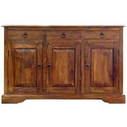 Classic Evergreen Sheesham Wood Solid Wood 3 Drawers Sideboard Cabinet Natural