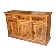 Classic Evergreen Sheesham Wood Solid Wood Sideboard With Doors And Drawer Natural