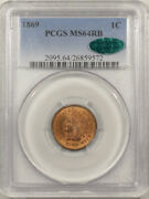 1869 Indian Cent - Pcgs Ms-64 Rb Premium Quality Cac Approved