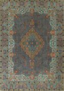 Antique Floral Overdyed Tebriz Area Rug Evenly Low Pile Oriental Handmade 9and039x12and039