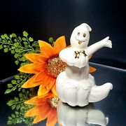 Lenox Ghostly Surprise Pumpkin Halloween Figurine 24k Gold Accents Fine China