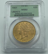 1907 Pcgs Ms62 20 Gold Liberty Double Eagle Old Green Holder
