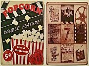 Two 8x12 Tin Signs Popcorn Hot Buttered Movie Films Projector Drive In The End