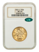 1901-s 10 Ngc/cac Ms64 - Liberty Eagle - Gold Coin